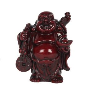 Chinese Oriental Red Resin Wealthy Buddha (B) - Good Luck, Wealth & Happiness