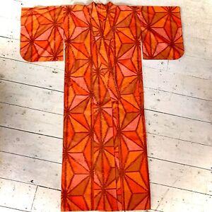Vintage Original Japanese Full Length Wool Traditional Kimono