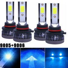 4pcs Combo 9005 9006 Led Headlight Kit Bulbs 8000k Ice Blue Cob High Low Beam Fits Mustang