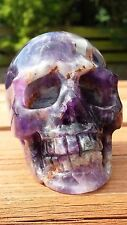 Natural Brazilian Dream Amethyst Hand Carved Realistic Crystal Skull 462g