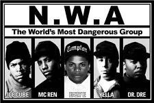 "N.W.A Music Poster 24x36"" Ice Cube MC Ren Dr. Dre Yella Eazy E NWA"