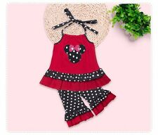 NWT MINNIE MOUSE Girl's 6 Black Polka Dot Pant & Ruffled Halter Tie Top OUTFIT 6