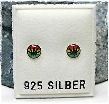 NEU 925 Silber 5,5mm OHRSTECKER mit HANF/HANFBLÄTTER rot/gelb/grün OHRRINGE