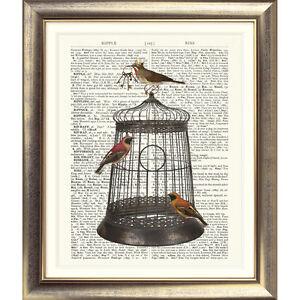 DICTIONARY ART PRINT ANTIQUE BOOK PAGE Birds Cage Vintage Picture Birdcage Keys