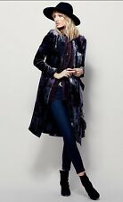 Free People Printed Velvet Duster Blue Size XS $298
