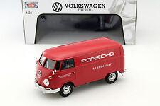 Volkswagen VW Type 2 t1 Porsche renndienst rojo 1:24 Motormax