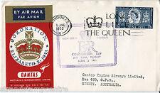 1953 Coronación-Qantas cubierta de Servicio Exterior Día de la coronación a Australia
