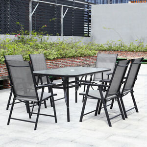 6 Seater Patio Furniture Set Garden Bistro Glass Parasol Table & Folding Chairs