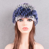 Rabbit Fur Winter Hat for Women Russian Real Fur Knit Headgea Beanie Skull Cap