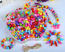 420pcs Plastic Jewelry Beads Assorted Colour For Kids Crafts DIY Girls Gift Cord