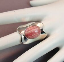Native American Pink Rhodochrosite Sterling Silver Wide Band Ring