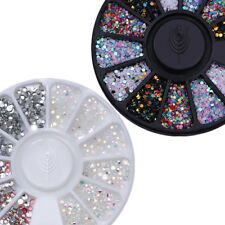 2 Pcs Nail Rhinestones Charms 3D Nail Art Decoration in Wheel AB Color Kit