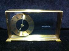 Vintage Brass & Glass MARSHALLS DESK CLOCK Service Award Fields Marshall - A3