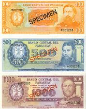 Paraguay 1979 Specimen Set Lot of 5 Notes Guaranies CHOICE UNC