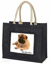 Bear Coat Shar-Pei 'Love You Dad' Large Black Shopping Bag Christmas, DAD-110BLB