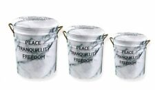 PEACE TRANQUILITY FREEDOM Metal Stool Storage Bin Vintage Retro Choose Your Size