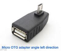 4pcs Left Angle 90D Micro 5pin Male Plug To USB 2.O Female OTG Adapter Connector