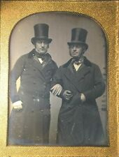 TWO GENTLEMEN - ONE WITH PROSTHETIC ARM - RARE - 1/2 PLATE 1850s DAGUERREOTYPE