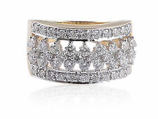 Pave 1.07 Cts Natural Diamonds Engagement Ring In Fine Certified 14K Yellow Gold