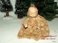 ANTIQUE 1920's JAPAN BABY GIRL BISQUE DOUBLE JOINTED LACE DRESS MINIATURE DOLL