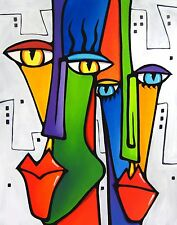 LOVIN THE CITY- Original modern abstract pop art faces color PRINT by FIDOSTUDIO