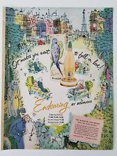 1951 Bourjois endearing perfume bottle dusting powder tin vintage fragrance ad