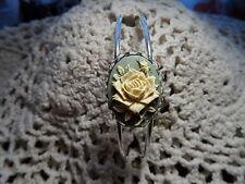 CAMEO BRACELET SHINY SILVER CUFF ROSE OLIVE GREEN IVORY