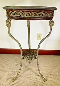 Antique Round Inlaid Flower Wood Table Tripod Ornate Brass Ram/Goat Head Legs