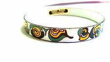 Green Yellow and White Hand Made Porcelain Bangle Vintage Abstract Bracelet