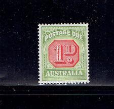 Australia  #J65 1938 1d  Postage Due VF LH 14 1/2x14 Green/Carmine - SCV $12.50