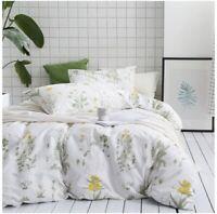 Botanical Duvet Cover Set,100% Cotton Bedding,Yellow Flowers & Green Leaves 3pcs