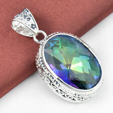 "TOP Quality Natural Rainbow Fire Mystical Topaz Gemstone Silver Pendant 1 5/8"""