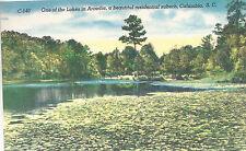 Lake In Arcadia  Residential Suburb   Columbia  SC Unused Linen Postcard 10224