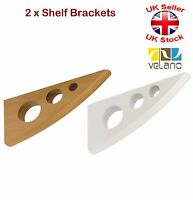2 x Decorative Shelf Supports Wooden Brackets White or Beech 2 Sizes Round