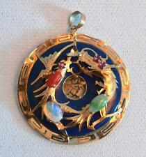 Vintage 1920s Chinese 14K Gold Lapis Opal Jade and Coral Pendant