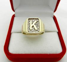 "Men's Initial Letter ""K"" Signet Ring Anniversary Wedding Ring In 14k Yellow Gold"