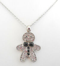 NEW AUSTRIAN CRYSTAL GINGERBREAD MAN NECKLACE SILVERTONE/CLEAR
