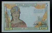 Banknote .Indochine. 5 Piastres 1936 Pick 55b