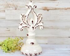 Shabby worn white decorative ceramic finial pedestal for the home