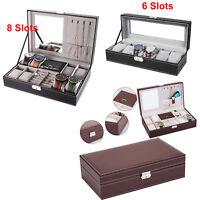 6/8 Slots Watch Box Lock Mirror PU Leather Display Storage Jewelry Organizer