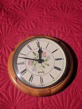 Vintage Metamec Quartz, Floral, Round Wood Frame Wall Clock - Super Condition