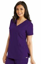 Grey's Anatomy Style 41452 V-Neck Detailed Scrub Top in Vivid Violet, Size L