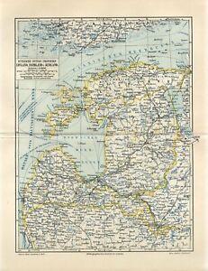 1895 RUSSIA BALTIC PROVINCES ESTONIA LATVIA LITHUANIA FINLAND Antique Map dated
