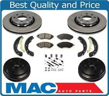 Aveo Without ABS (2) Brake Drum With Rear Bearings & Brake Shoes Rotors Pads 7Pc