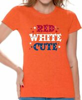 USA Flag Red White Cute Women's T shirt Tops 4th Of July Patriotic