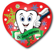 Dentist Hygienist Personalized Christmas Holiday Heart Ornament 2 Sides Tooth