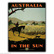 AUSTRALIA Vintage Retro Travel Advert A5 METAL WALL SIGN PLAQUE poster print