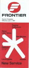 Frontier Airlines timetable 1981/06/01
