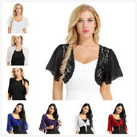 Women Lace Chiffon Short Sleeve Crop Bolero Shrug Top Ladies Cardigan Plus Size