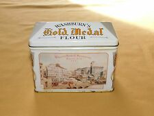 "FOOD AD 4 1/4"" HIGH  WASHBURN'S GOLD MEDAL FLOUR  TIN CAN    EMPTY"